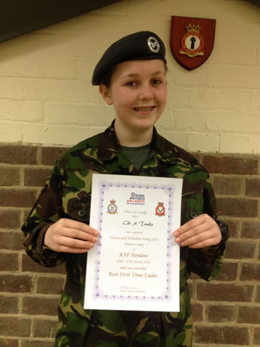 Cadet Aimee Tonks proudly shows off her award