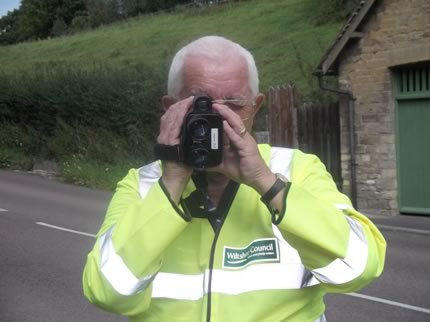 Photo: David Trow Operating the Unipar device in Holloway, Malmesbury. Photo courtesy of Wiltshire Police.
