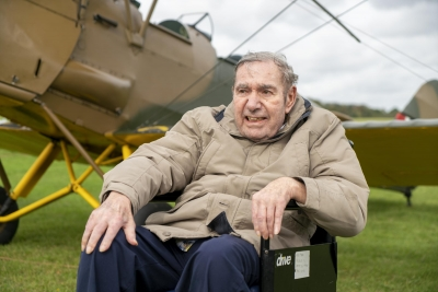 RAF veteran returns to the skies to recreate his first flight in Tiger Moth